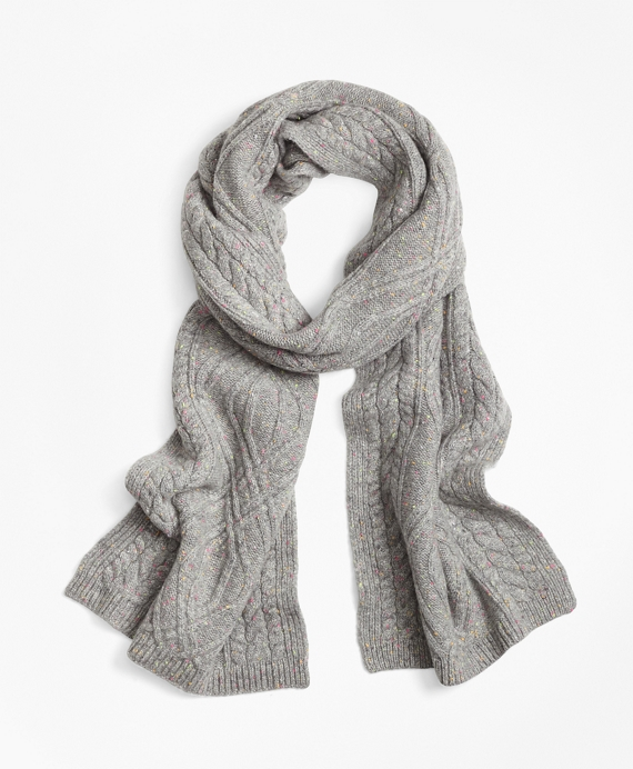 Cable-Knit Cashmere Scarf Grey