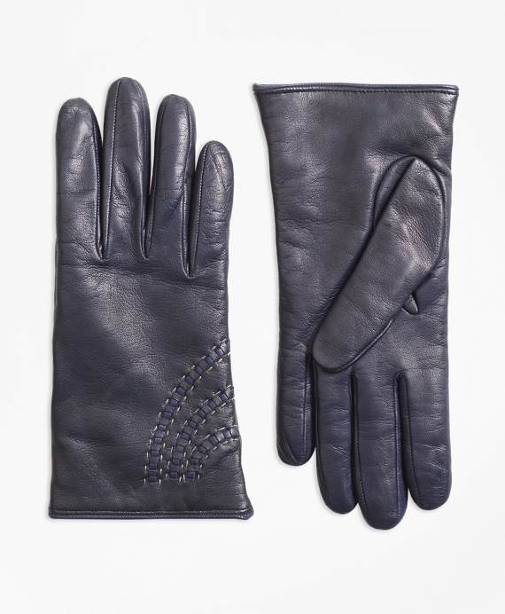 Topstitched Cashmere-Lined Leather Gloves Navy