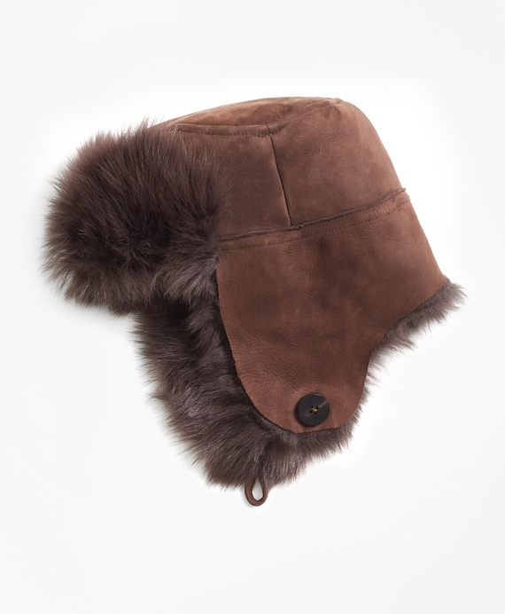 Shearling Trapper Hat Dark Brown