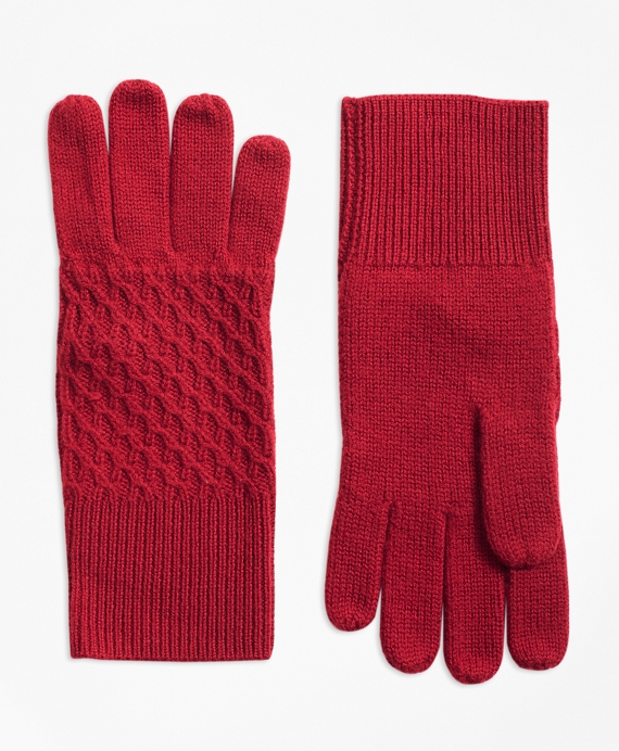 Mixed-Stitch Merino Wool Gloves Red