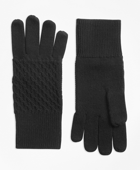 Mixed-Stitch Merino Wool Gloves Black