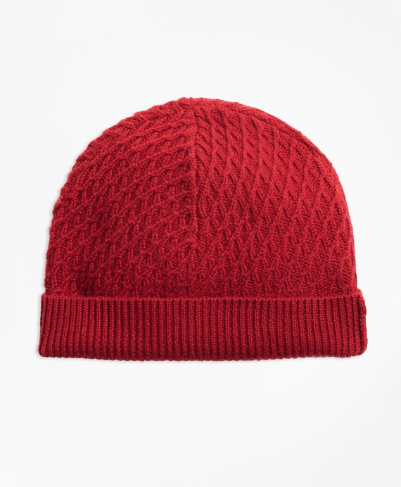 Mixed-Stitch Merino Wool Hat Red