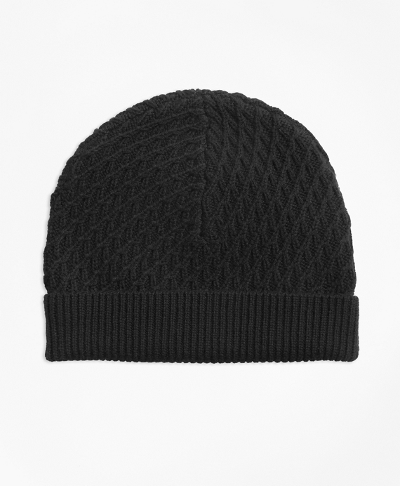 Mixed-Stitch Merino Wool Hat Black