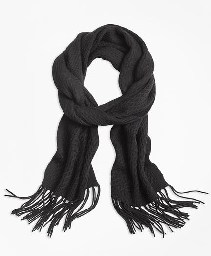Lattice-Stitch Merino Wool Scarf