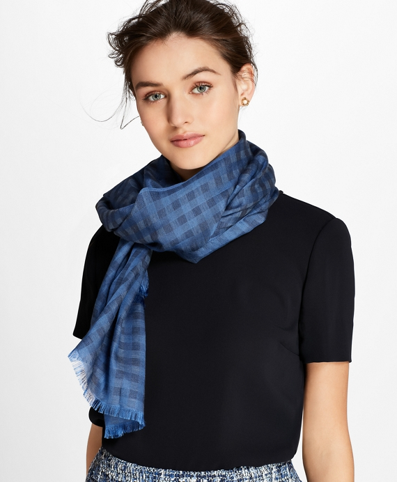 Gingham Cotton-Silk Oblong Scarf Navy