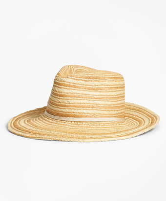 Striped Woven Straw Hat