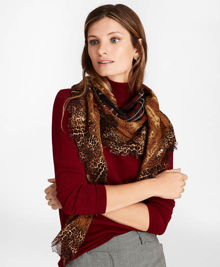 Border-Print Plaid Wool Square Scarf