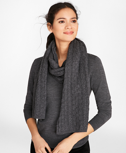 Cable-Knit Merino Wool Scarf