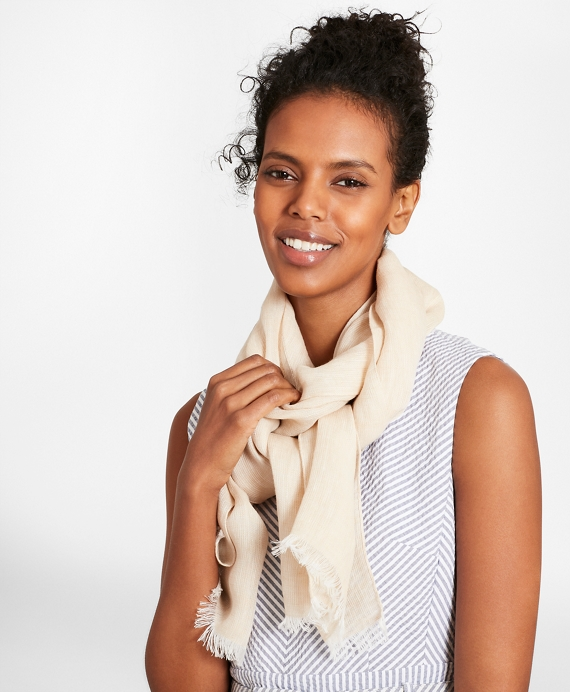 Linen Oblong Scarf Tan