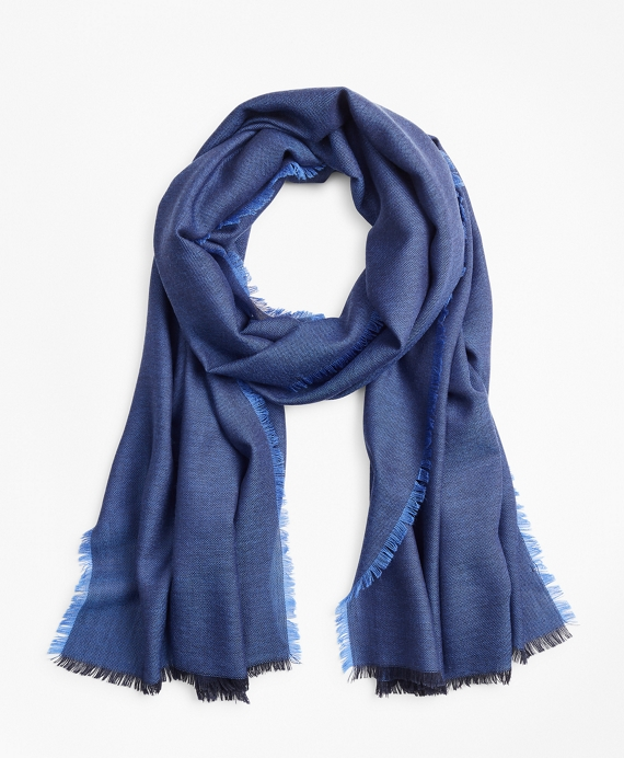 Woven Wool Scarf Navy
