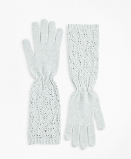 Pointelle Cable-Knit Cashmere Gloves