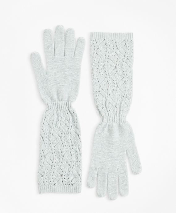 Pointelle Cable-Knit Cashmere Gloves Light Green