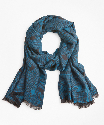 Glen Plaid Wool-Silk-Blend Oblong Scarf
