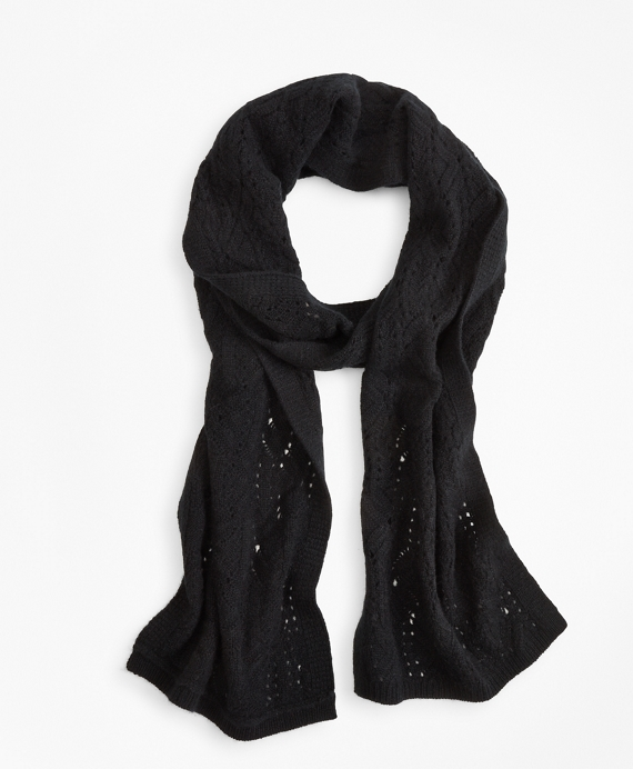 Pointelle Cable-Knit Cashmere Scarf Black