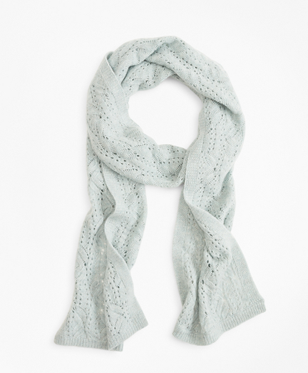 Pointelle Cable-Knit Cashmere Scarf