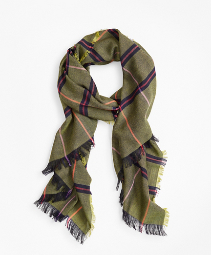 Plaid Lightweight Wool Scarf
