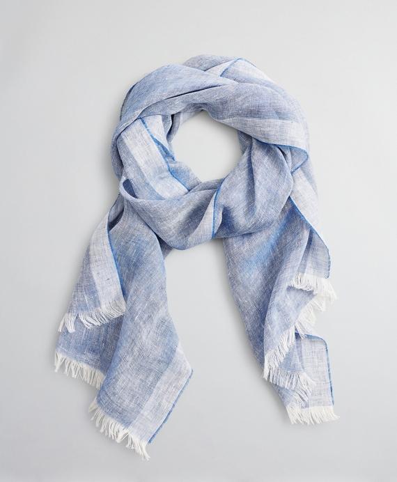 Linen Oblong Scarf Blue