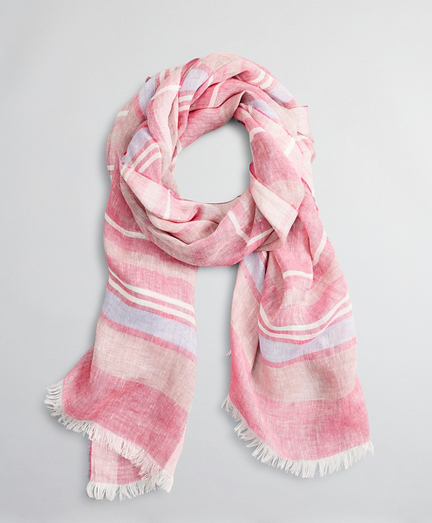 Striped Linen Oblong Scarf