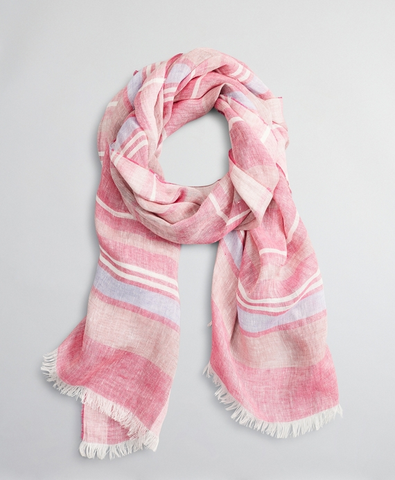 Striped Linen Oblong Scarf Pink-Blue
