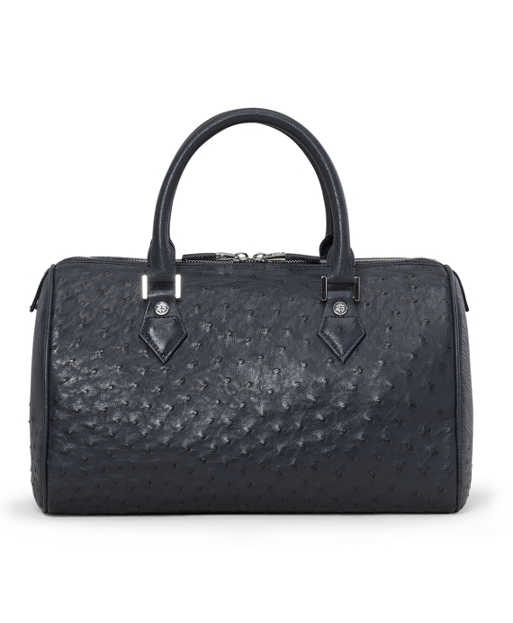 Ostrich Barrel Bag Black