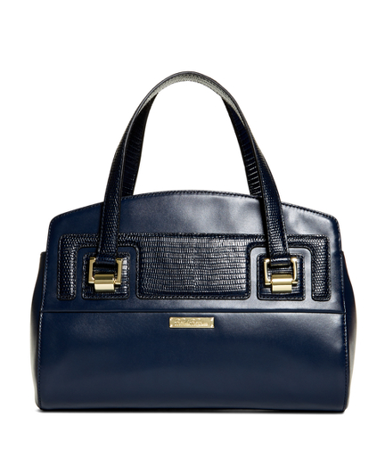 Exotic Embossed Calfskin Small Satchel