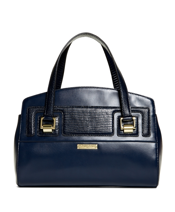 Exotic Embossed Calfskin Small Satchel Navy