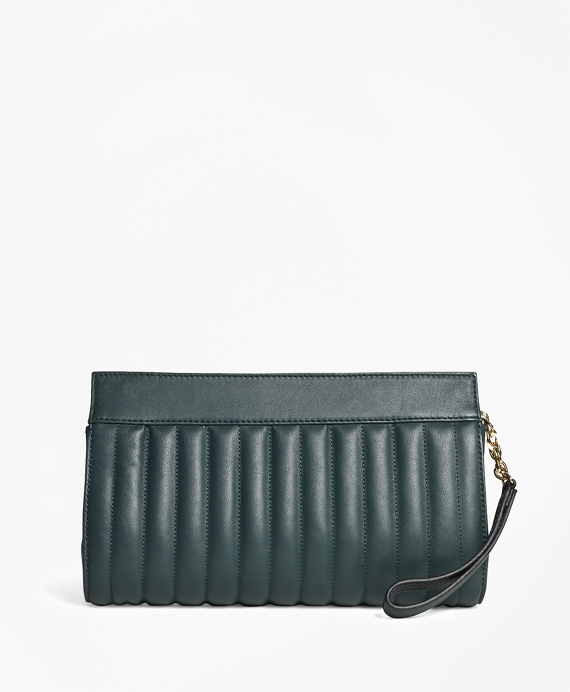 Leather Quilted Clutch Teal