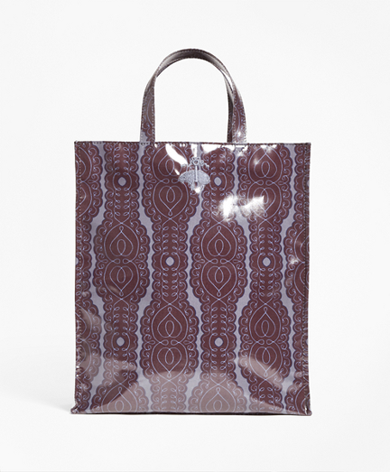 Scroll-Print Coated Canvas Tote