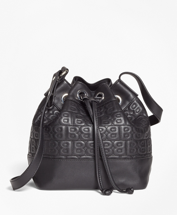 """BB"" Quilted Leather Bucket Bag Black"