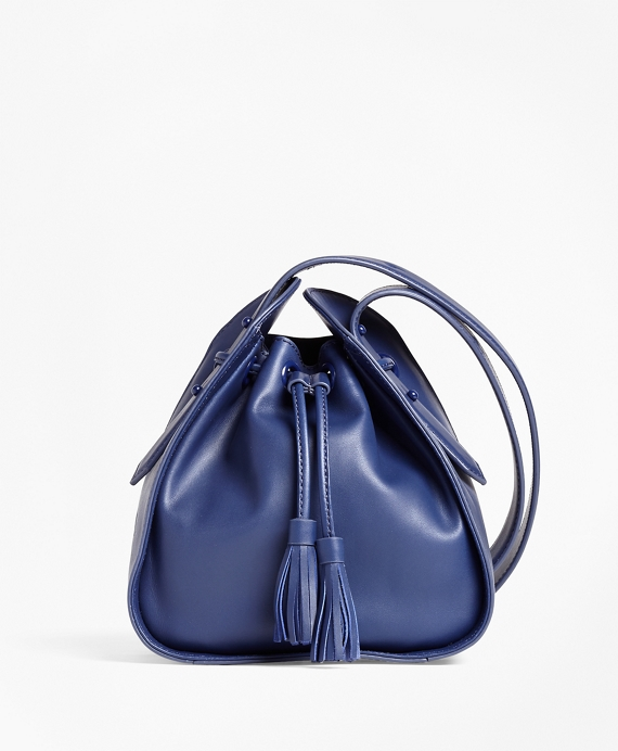 Leather Cross-body Bucket Bag Navy