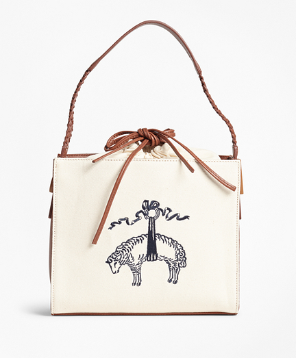 Golden Fleece®-Embroidered Canvas and Leather Handbag