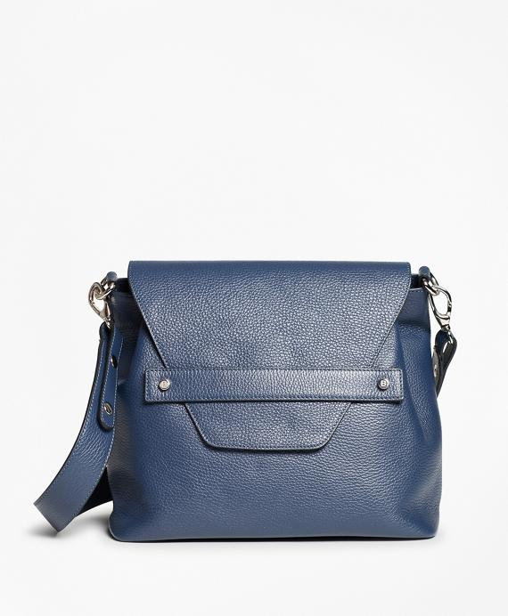 Pebbled Leather Envelope-Flap Shoulder Bag Navy
