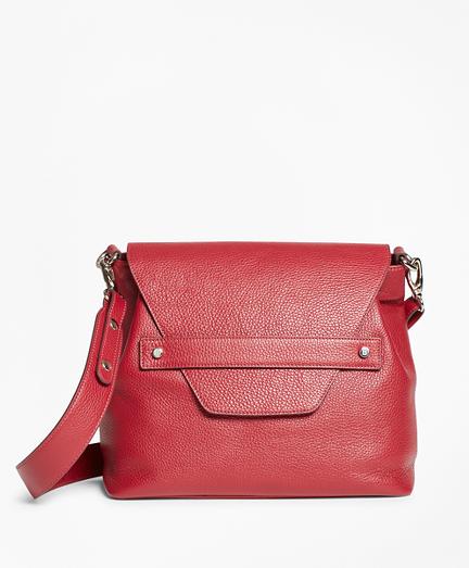 Pebbled Leather Envelope-Flap Shoulder Bag