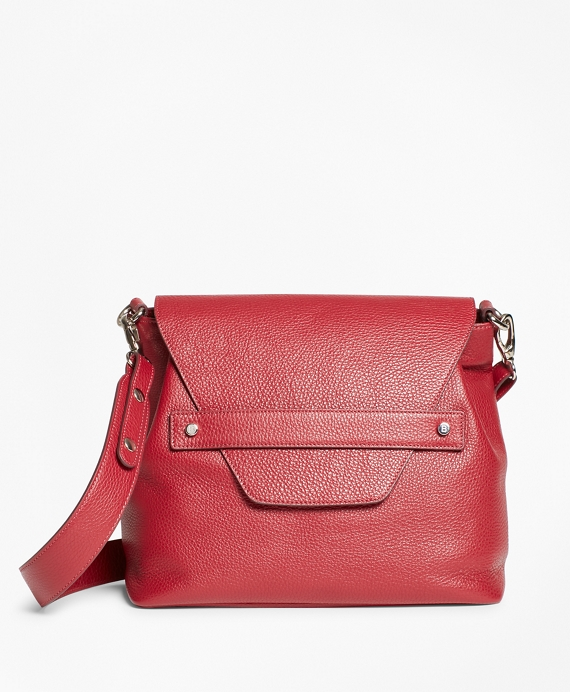 Pebbled Leather Envelope Flap Shoulder Bag by Brooks Brothers