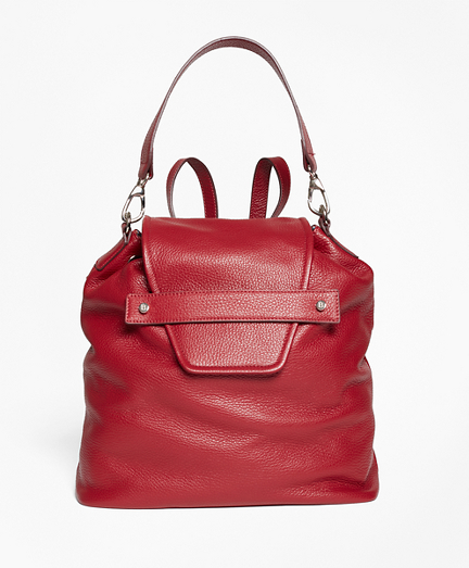 Pebbled Leather Envelope-Flap Convertible Backpack