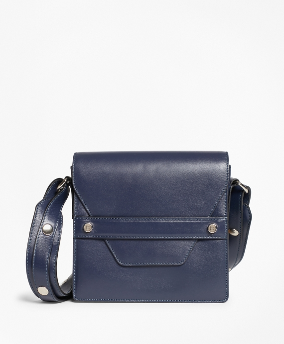 Leather Envelope-Flap Cross-body Bag Navy