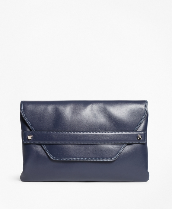 Leather Envelope-Flap Clutch Bag Navy