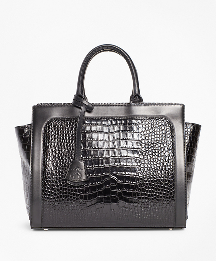 Crocodile-Embossed Leather Handbag