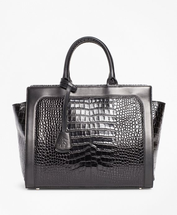 8008034de1 Crocodile-Embossed Leather Handbag | Brooks Brothers