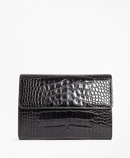 Crocodile-Embossed Leather Clutch