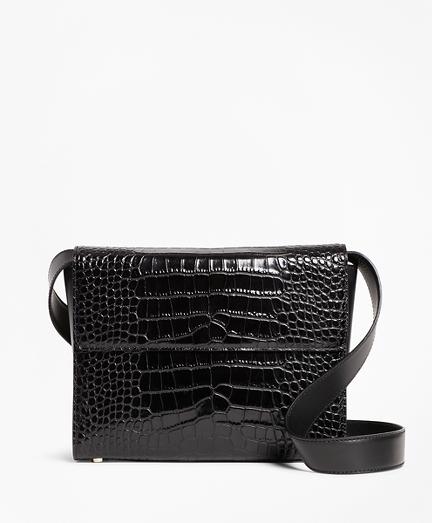 Crocodile-Embossed Leather Shoulder Bag