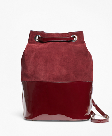 Suede and Patent Leather Bucket Bag 7d34a33d76393