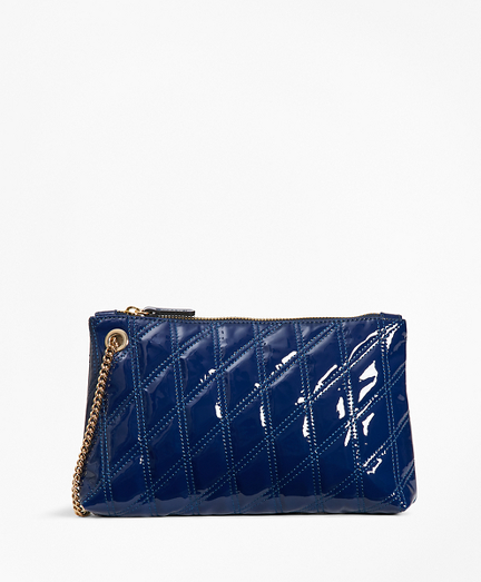 Quilted Patent Leather Wristlet Clutch
