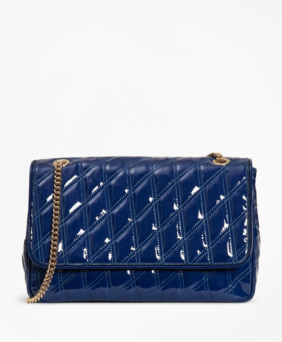 Quilted Patent Leather Convertible Cross-Body Bag Blue