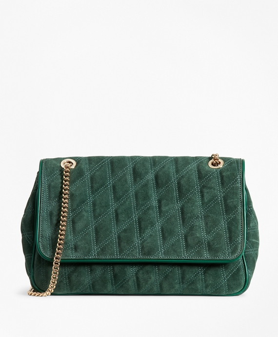 Quilted Suede Convertible Cross-body Bag Evergreen