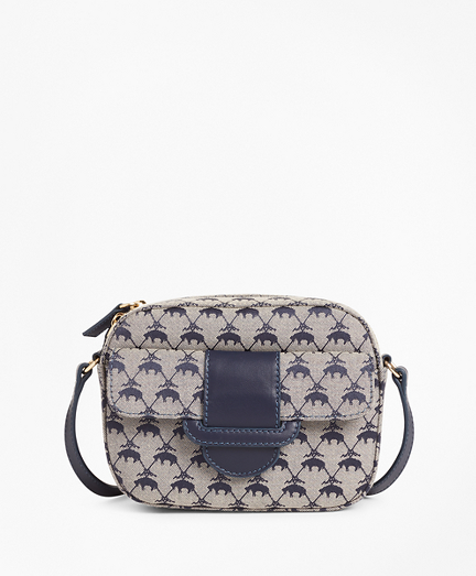 Leather-Trimmed Logo Jacquard  Crossbody Bag