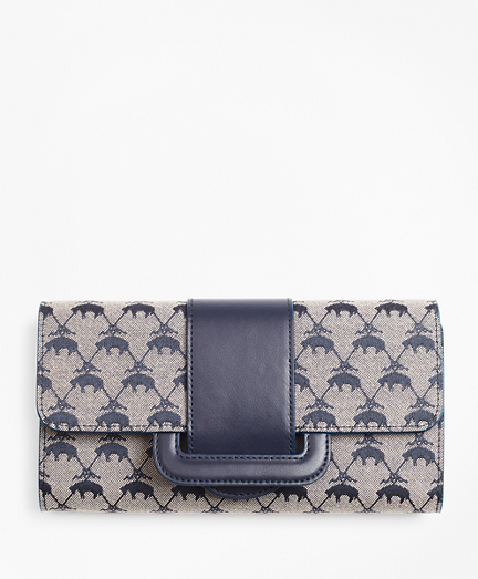 Leather-Trimmed Logo Jacquard Envelope-Flap Wallet