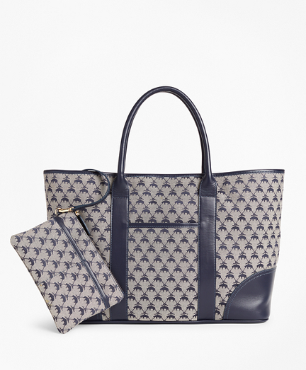 Leather-Trimmed Logo Jacquard Tote Bag