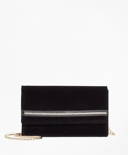 Rhinestone-Trimmed Velvet Evening Bag