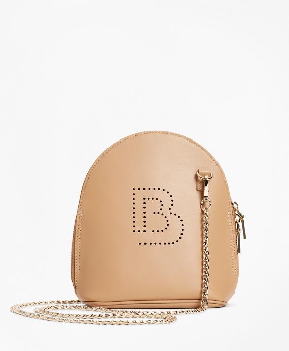 Logo Embellished Leather Crossbody Bag